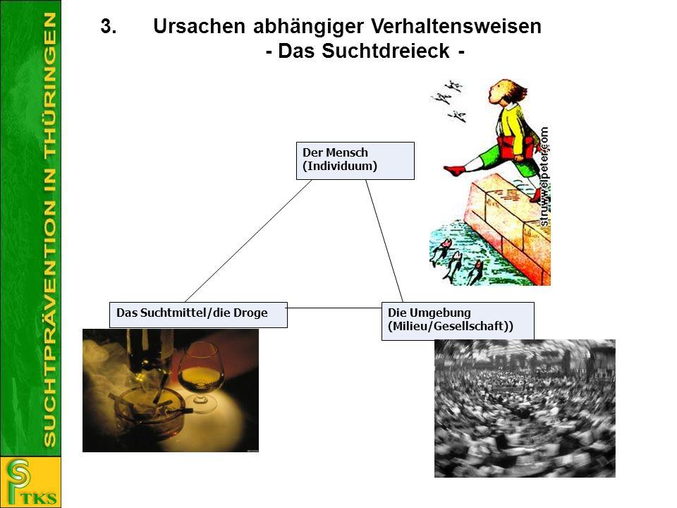 3.Ursachen abhängiger Verhaltensweisen - Das Suchtdreieck - Der Mensch (Individuum) Das Suchtmittel/die DrogeDie Umgebung (Milieu/Gesellschaft))