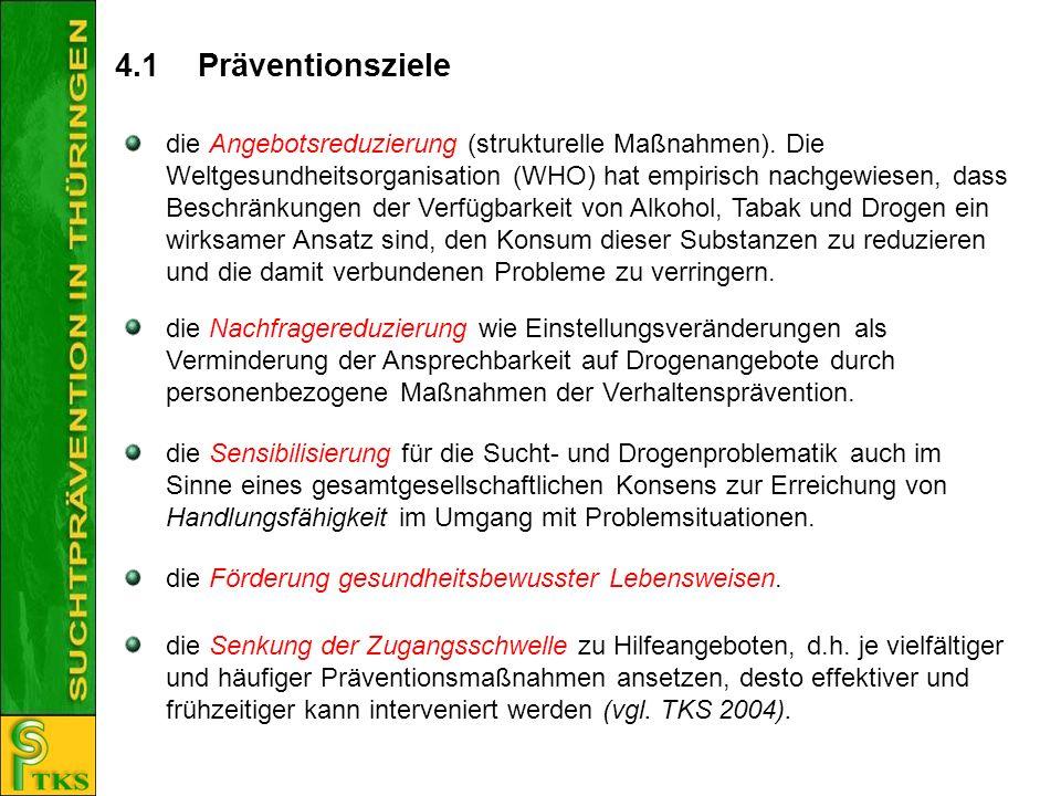 4.1 Präventionsziele die Nachfragereduzierung wie Einstellungsveränderungen als Verminderung der Ansprechbarkeit auf Drogenangebote durch personenbezo
