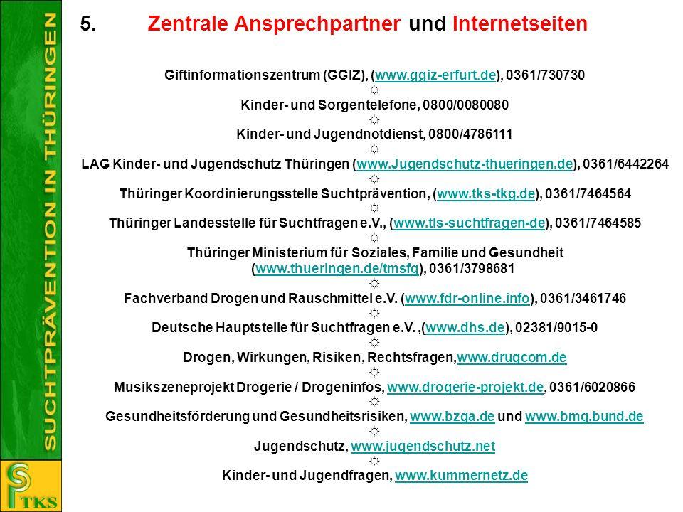 5. Zentrale Ansprechpartner und Internetseiten Giftinformationszentrum (GGIZ), (www.ggiz-erfurt.de), 0361/730730www.ggiz-erfurt.de Kinder- und Sorgent