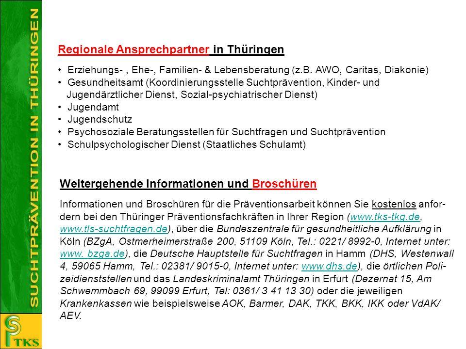 Regionale Ansprechpartner in Thüringen Erziehungs-, Ehe-, Familien- & Lebensberatung (z.B. AWO, Caritas, Diakonie) Gesundheitsamt (Koordinierungsstell