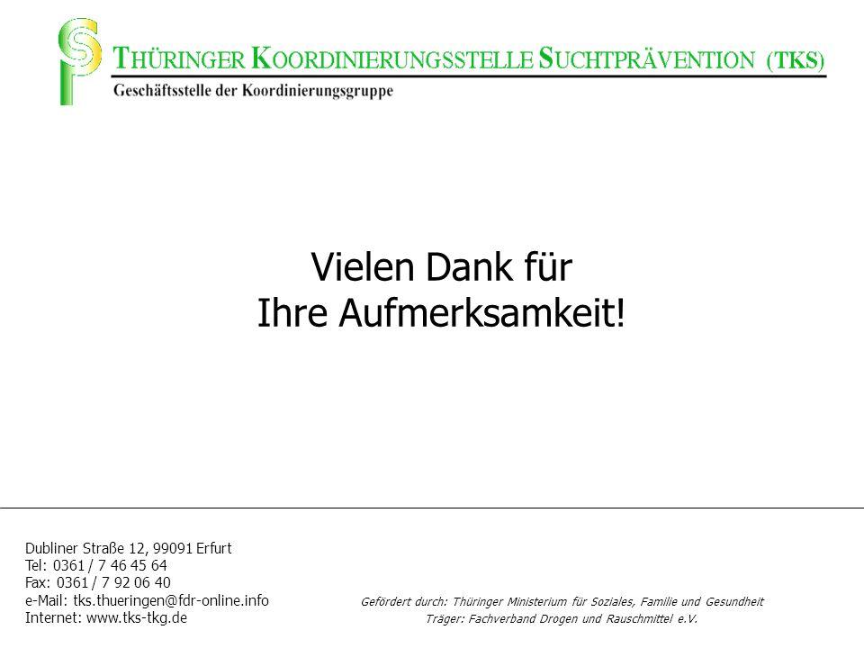Vielen Dank für Ihre Aufmerksamkeit! Dubliner Straße 12, 99091 Erfurt Tel: 0361 / 7 46 45 64 Fax: 0361 / 7 92 06 40 e-Mail: tks.thueringen@fdr-online.