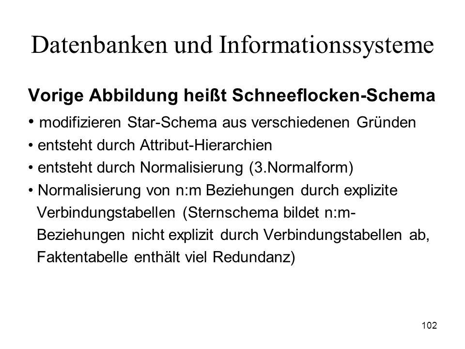 102 Datenbanken und Informationssysteme Vorige Abbildung heißt Schneeflocken-Schema modifizieren Star-Schema aus verschiedenen Gründen entsteht durch