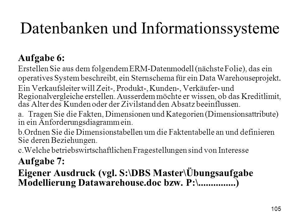 105 Datenbanken und Informationssysteme Aufgabe 6: Erstellen Sie aus dem folgendem ERM-Datenmodell (nächste Folie), das ein operatives System beschrei