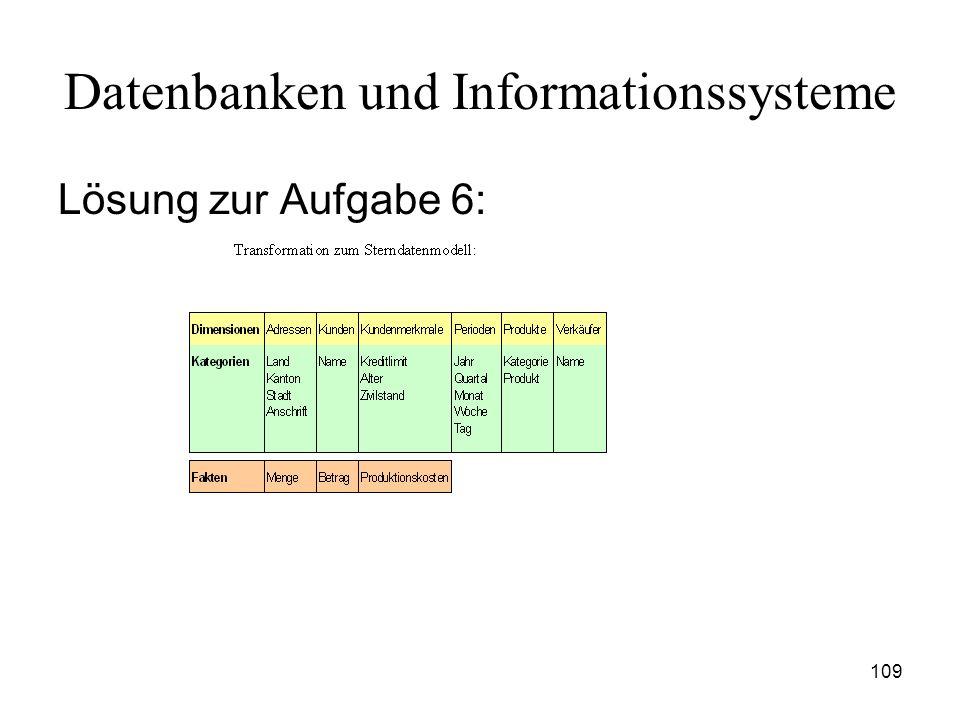 109 Datenbanken und Informationssysteme Lösung zur Aufgabe 6: