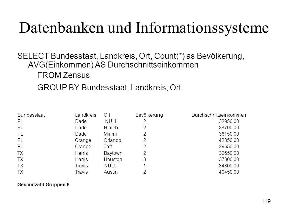 119 Datenbanken und Informationssysteme SELECT Bundesstaat, Landkreis, Ort, Count(*) as Bevölkerung, AVG(Einkommen) AS Durchschnittseinkommen FROM Zen