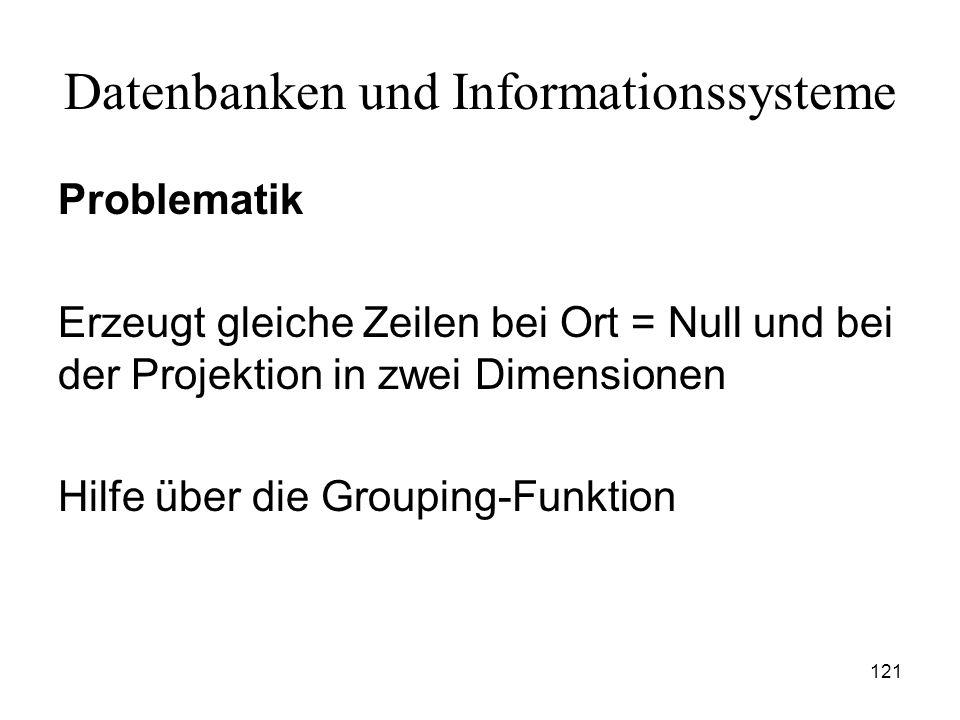 121 Datenbanken und Informationssysteme Problematik Erzeugt gleiche Zeilen bei Ort = Null und bei der Projektion in zwei Dimensionen Hilfe über die Gr