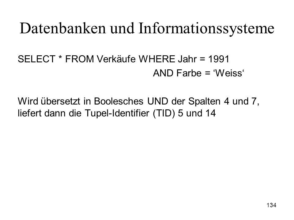 134 Datenbanken und Informationssysteme SELECT * FROM Verkäufe WHERE Jahr = 1991 AND Farbe = Weiss Wird übersetzt in Boolesches UND der Spalten 4 und