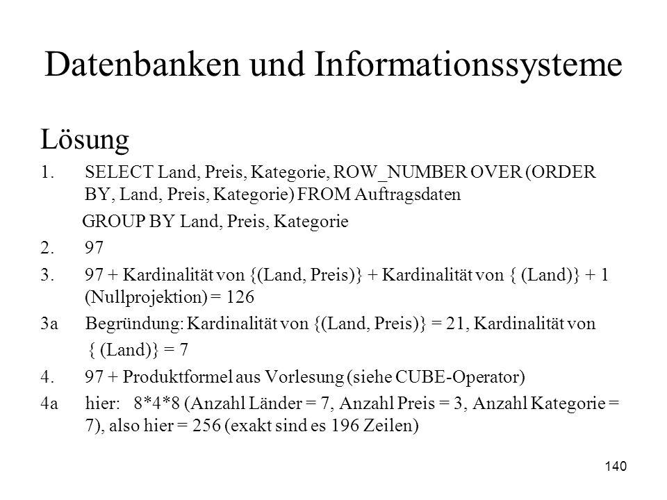 140 Datenbanken und Informationssysteme Lösung 1.SELECT Land, Preis, Kategorie, ROW_NUMBER OVER (ORDER BY, Land, Preis, Kategorie) FROM Auftragsdaten
