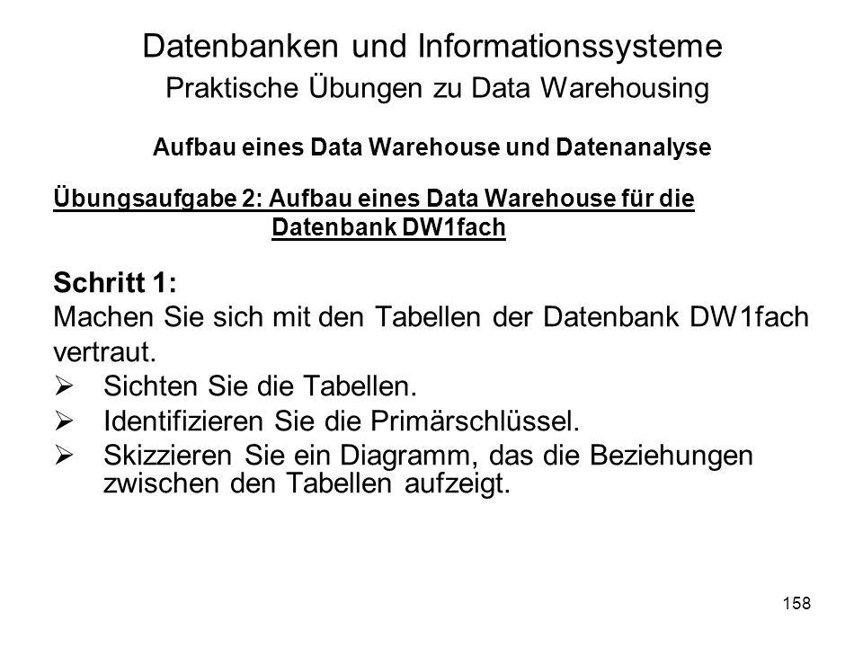 158 Datenbanken und Informationssysteme Praktische Übungen zu Data Warehousing Aufbau eines Data Warehouse und Datenanalyse Übungsaufgabe 2: Aufbau ei