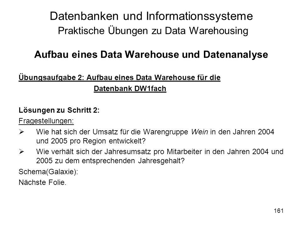 161 Datenbanken und Informationssysteme Praktische Übungen zu Data Warehousing Aufbau eines Data Warehouse und Datenanalyse Übungsaufgabe 2: Aufbau ei
