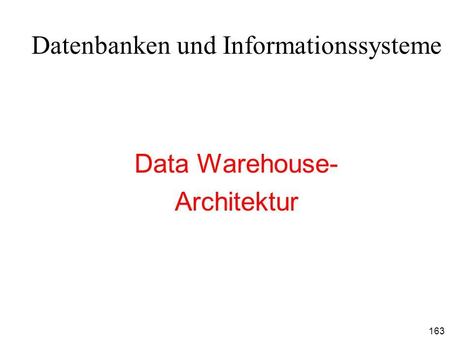 163 Datenbanken und Informationssysteme Data Warehouse- Architektur