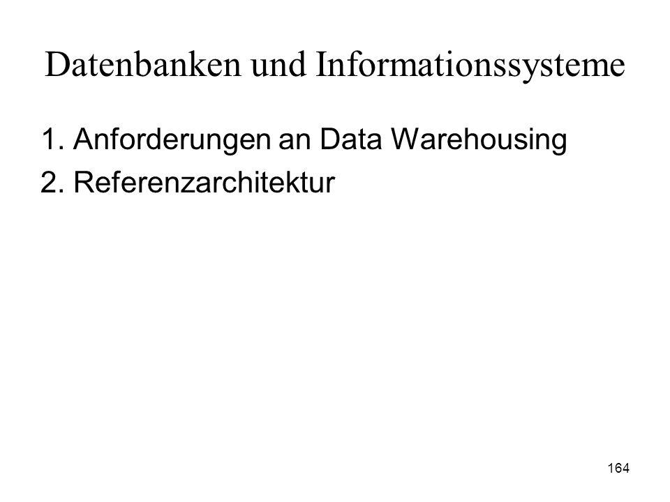 164 Datenbanken und Informationssysteme 1. Anforderungen an Data Warehousing 2. Referenzarchitektur