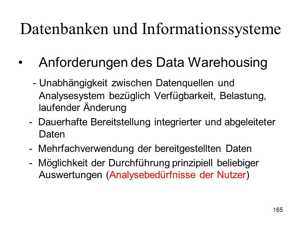 165 Datenbanken und Informationssysteme Anforderungen des Data Warehousing - Unabhängigkeit zwischen Datenquellen und Analysesystem bezüglich Verfügba