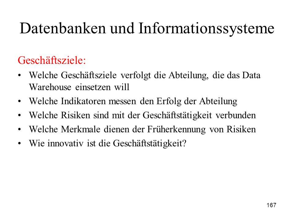 167 Datenbanken und Informationssysteme Geschäftsziele: Welche Geschäftsziele verfolgt die Abteilung, die das Data Warehouse einsetzen will Welche Ind