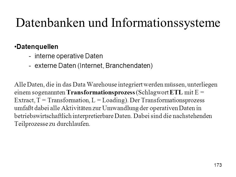 173 Datenbanken und Informationssysteme Datenquellen - interne operative Daten - externe Daten (Internet, Branchendaten) Alle Daten, die in das Data W