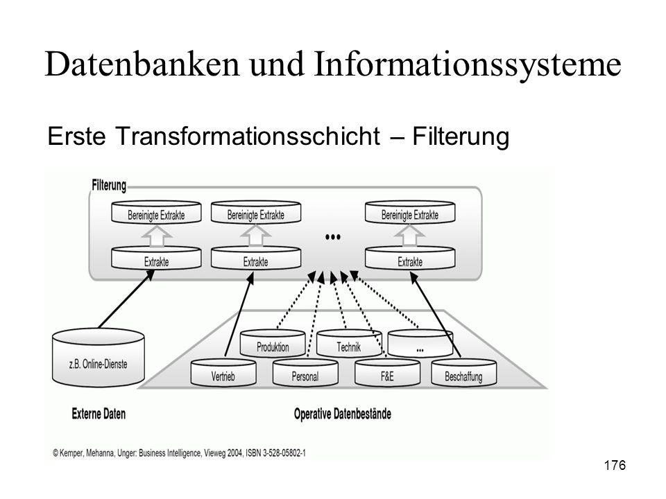 176 Datenbanken und Informationssysteme Erste Transformationsschicht – Filterung