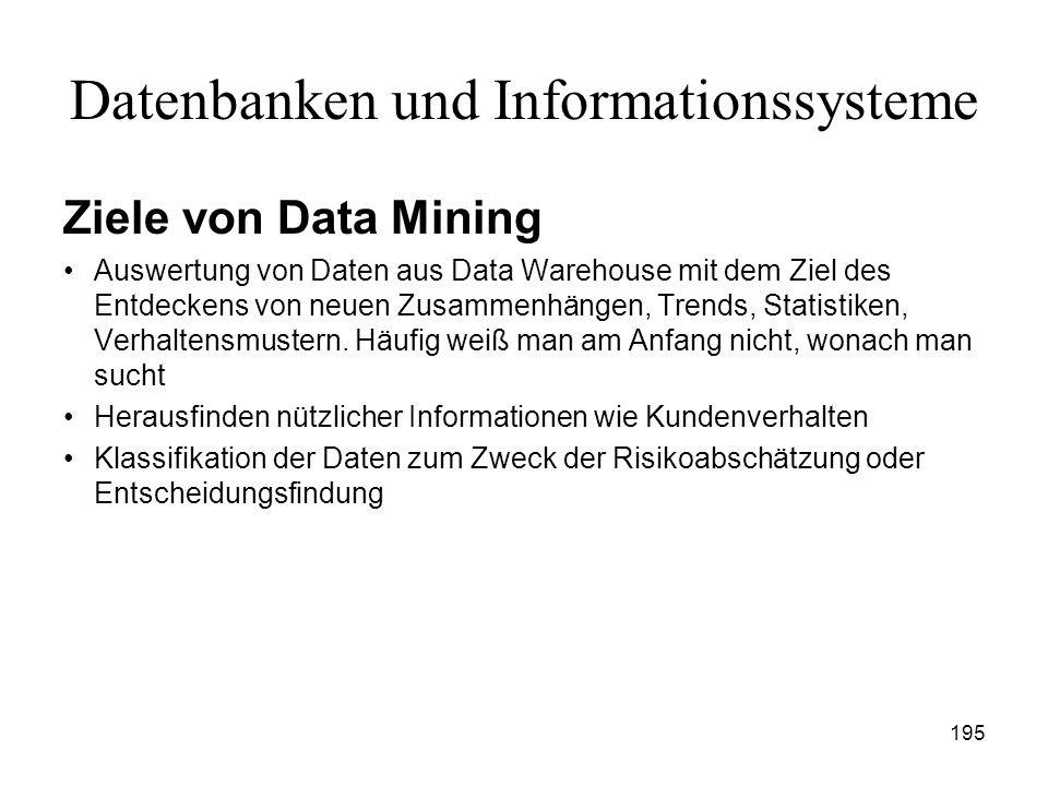 195 Datenbanken und Informationssysteme Ziele von Data Mining Auswertung von Daten aus Data Warehouse mit dem Ziel des Entdeckens von neuen Zusammenhä