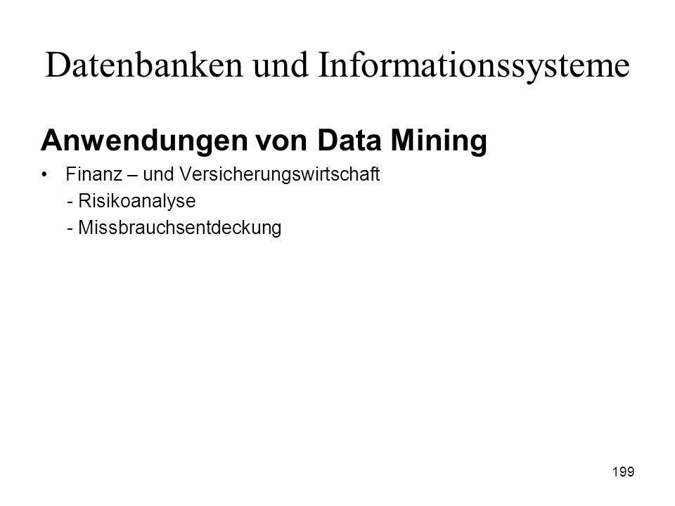 199 Datenbanken und Informationssysteme Anwendungen von Data Mining Finanz – und Versicherungswirtschaft - Risikoanalyse - Missbrauchsentdeckung