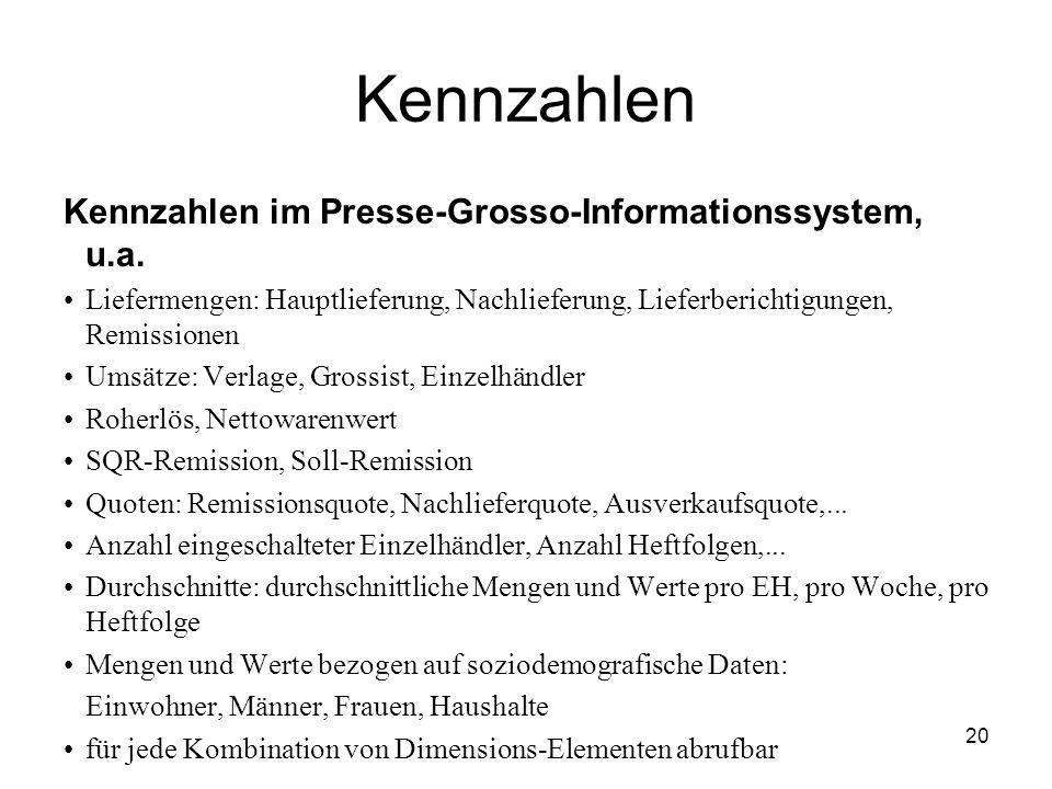 20 Kennzahlen Kennzahlen im Presse-Grosso-Informationssystem, u.a. Liefermengen: Hauptlieferung, Nachlieferung, Lieferberichtigungen, Remissionen Umsä