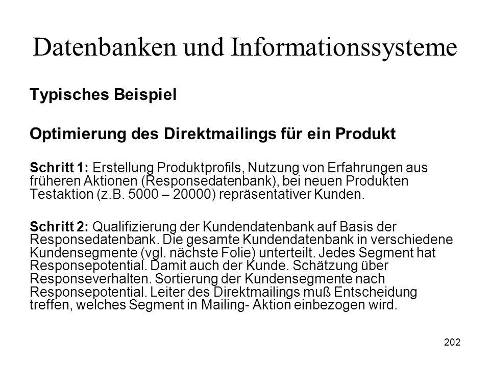 202 Datenbanken und Informationssysteme Typisches Beispiel Optimierung des Direktmailings für ein Produkt Schritt 1: Erstellung Produktprofils, Nutzun