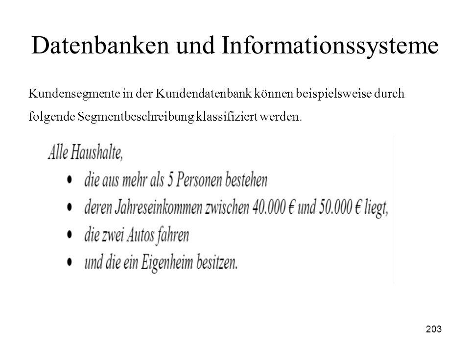 203 Datenbanken und Informationssysteme Kundensegmente in der Kundendatenbank können beispielsweise durch folgende Segmentbeschreibung klassifiziert w