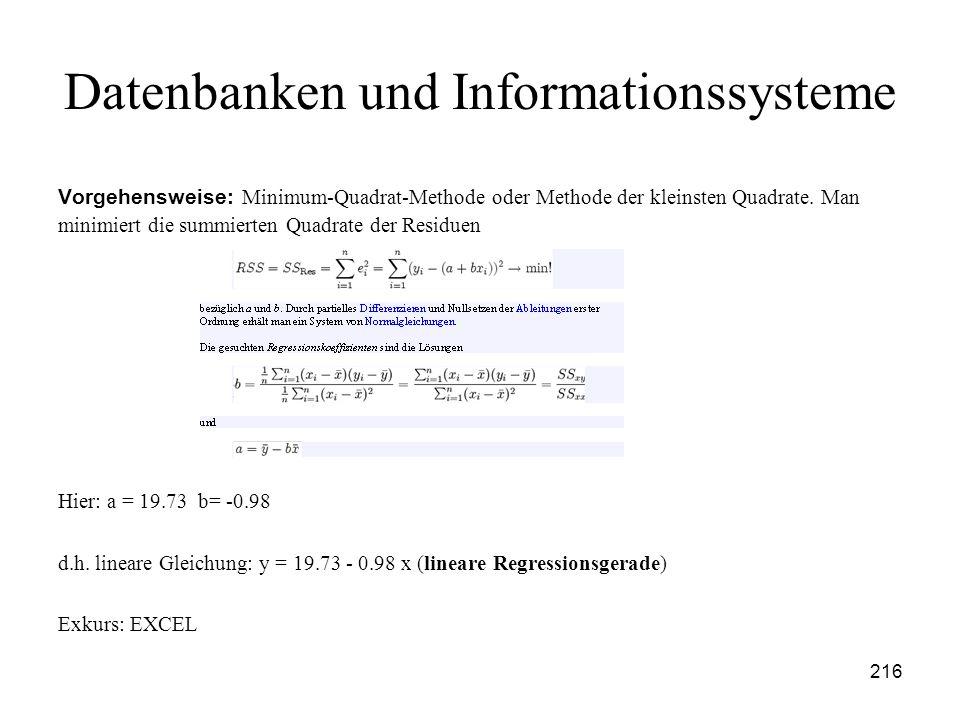 216 Datenbanken und Informationssysteme Vorgehensweise: Minimum-Quadrat-Methode oder Methode der kleinsten Quadrate. Man minimiert die summierten Quad