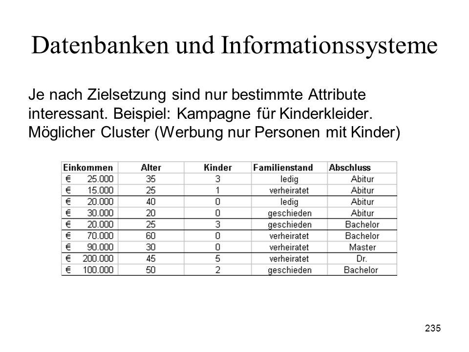 235 Datenbanken und Informationssysteme Je nach Zielsetzung sind nur bestimmte Attribute interessant. Beispiel: Kampagne für Kinderkleider. Möglicher