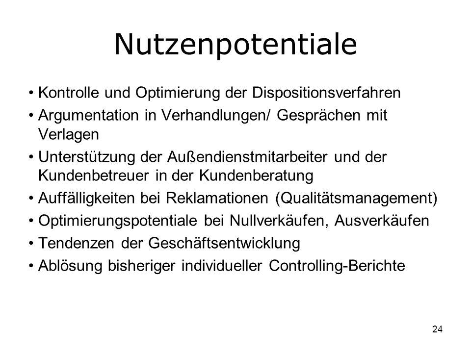 24 Nutzenpotentiale Kontrolle und Optimierung der Dispositionsverfahren Argumentation in Verhandlungen/ Gesprächen mit Verlagen Unterstützung der Auße