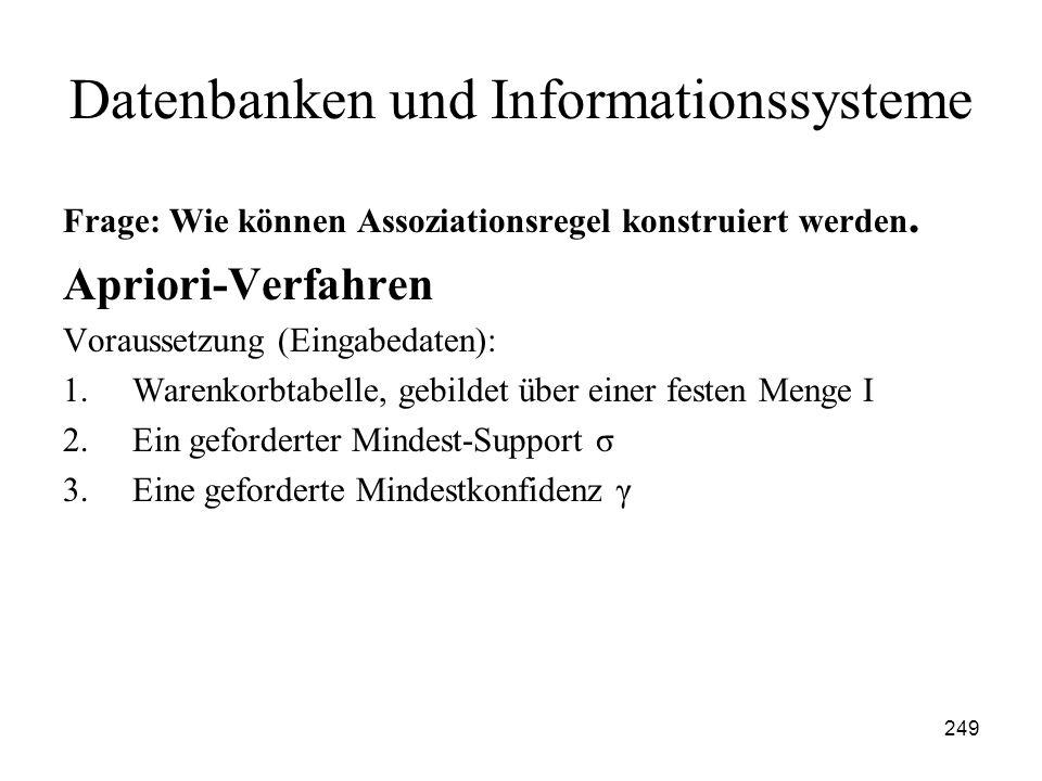 249 Datenbanken und Informationssysteme Frage: Wie können Assoziationsregel konstruiert werden. Apriori-Verfahren Voraussetzung (Eingabedaten): 1.Ware