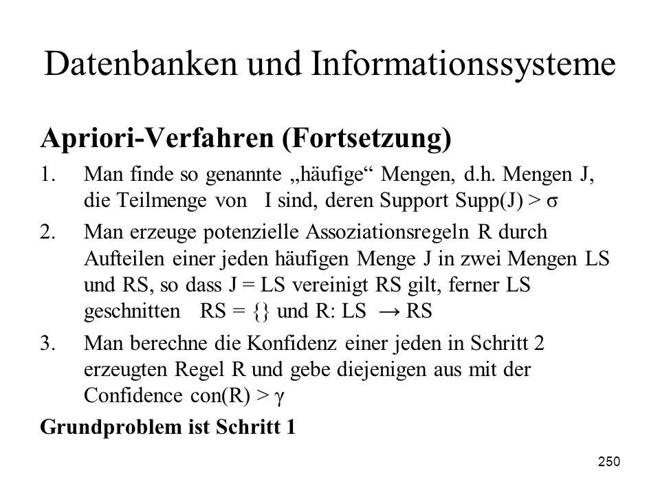 250 Datenbanken und Informationssysteme Apriori-Verfahren (Fortsetzung) 1.Man finde so genannte häufige Mengen, d.h. Mengen J, die Teilmenge von I sin