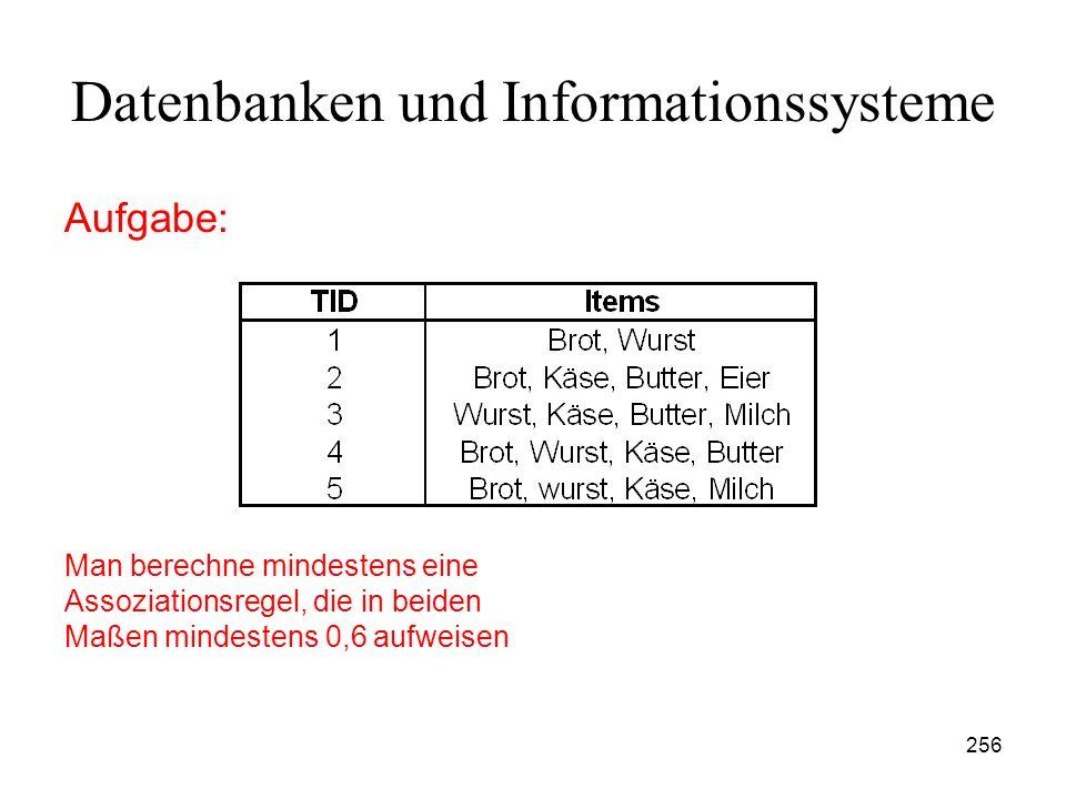 256 Datenbanken und Informationssysteme Aufgabe: Man berechne mindestens eine Assoziationsregel, die in beiden Maßen mindestens 0,6 aufweisen
