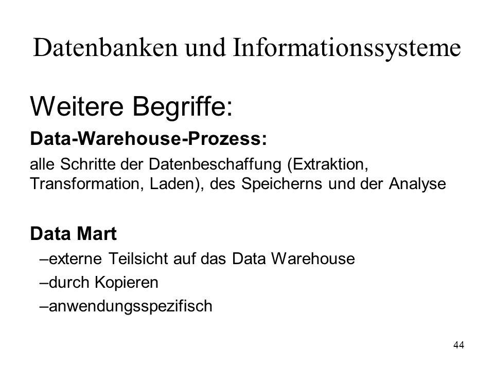 44 Datenbanken und Informationssysteme Weitere Begriffe: Data-Warehouse-Prozess: alle Schritte der Datenbeschaffung (Extraktion, Transformation, Laden