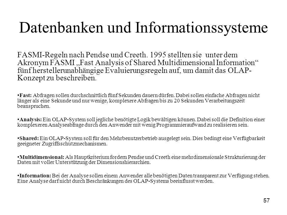 57 Datenbanken und Informationssysteme FASMI-Regeln nach Pendse und Creeth. 1995 stellten sie unter dem Akronym FASMI Fast Analysis of Shared Multidim