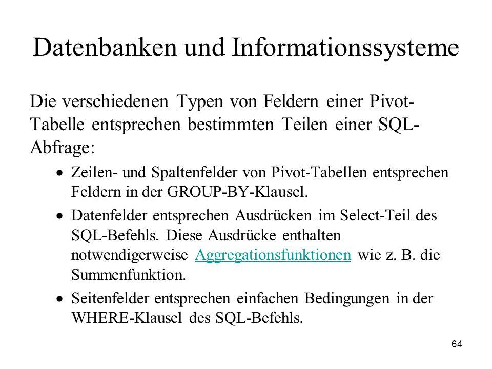 64 Datenbanken und Informationssysteme Die verschiedenen Typen von Feldern einer Pivot- Tabelle entsprechen bestimmten Teilen einer SQL- Abfrage: Zeil