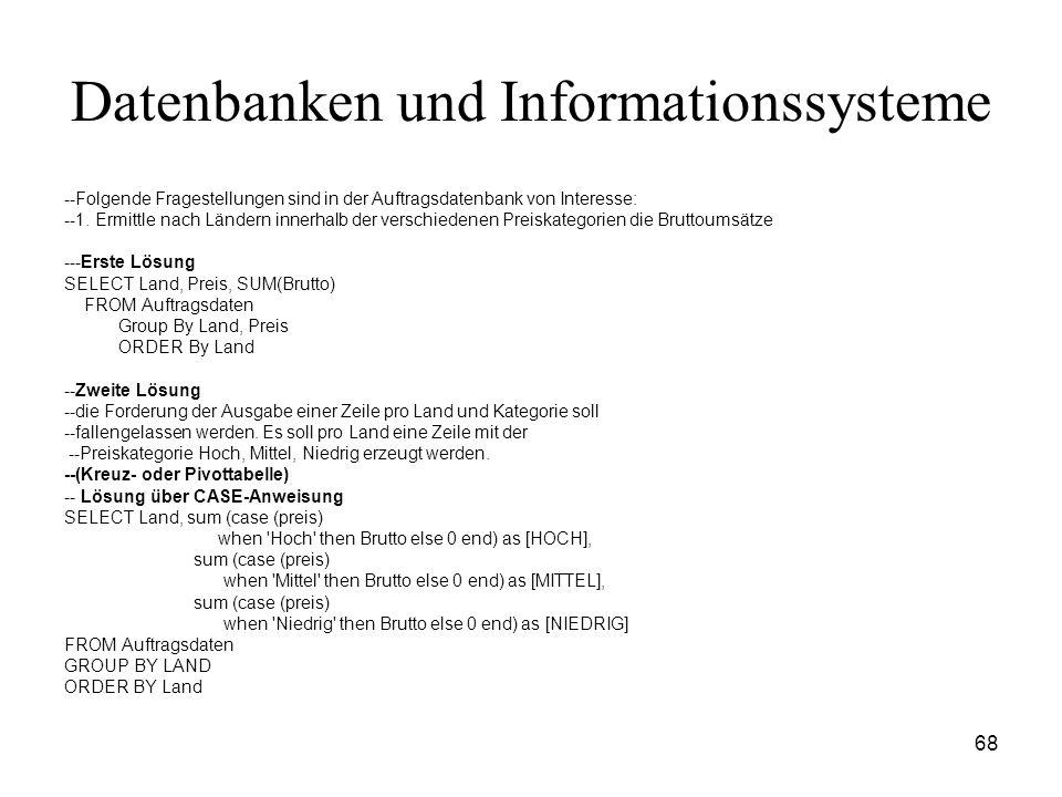68 Datenbanken und Informationssysteme --Folgende Fragestellungen sind in der Auftragsdatenbank von Interesse: --1. Ermittle nach Ländern innerhalb de