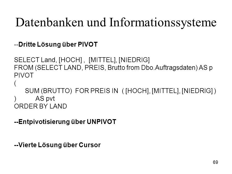 69 Datenbanken und Informationssysteme --Dritte Lösung über PIVOT SELECT Land, [HOCH], [MITTEL], [NIEDRIG] FROM (SELECT LAND, PREIS, Brutto from Dbo.A