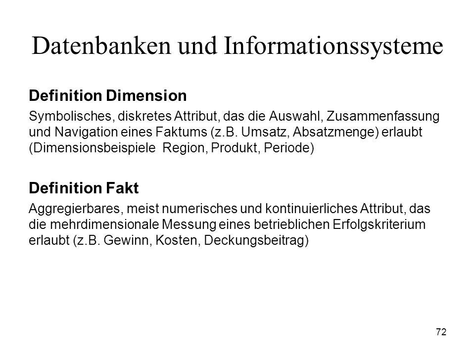 72 Datenbanken und Informationssysteme Definition Dimension Symbolisches, diskretes Attribut, das die Auswahl, Zusammenfassung und Navigation eines Fa