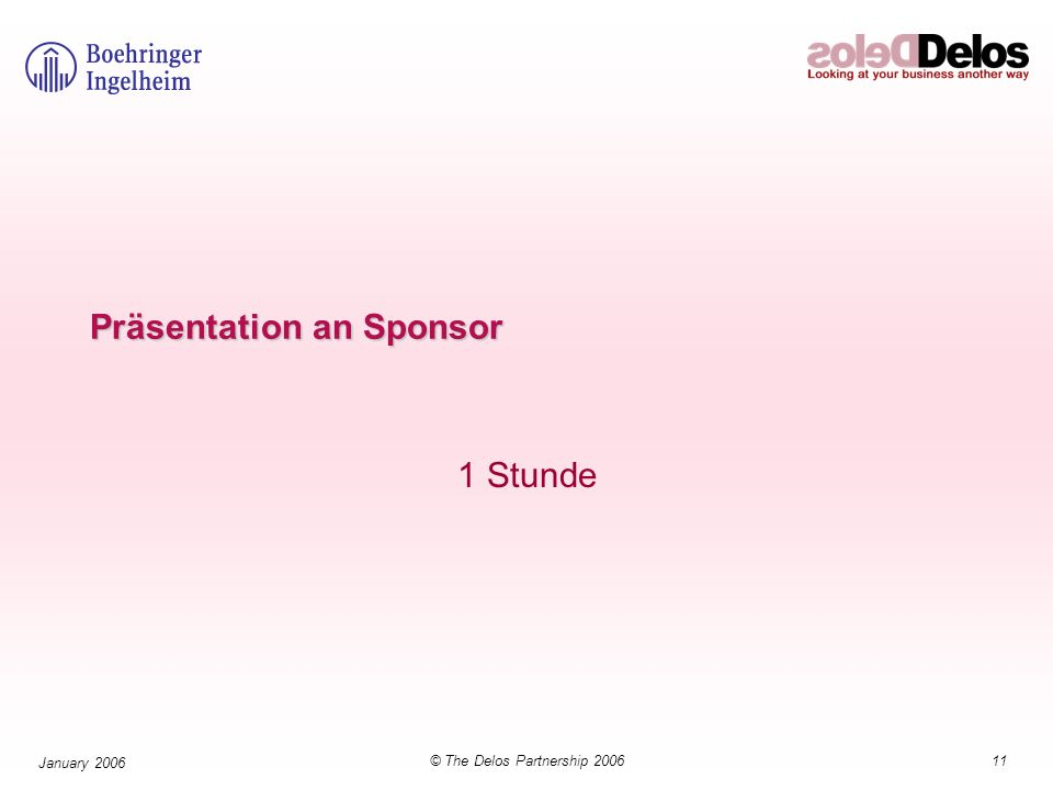 11© The Delos Partnership 2006 January 2006 Präsentation an Sponsor 1 Stunde