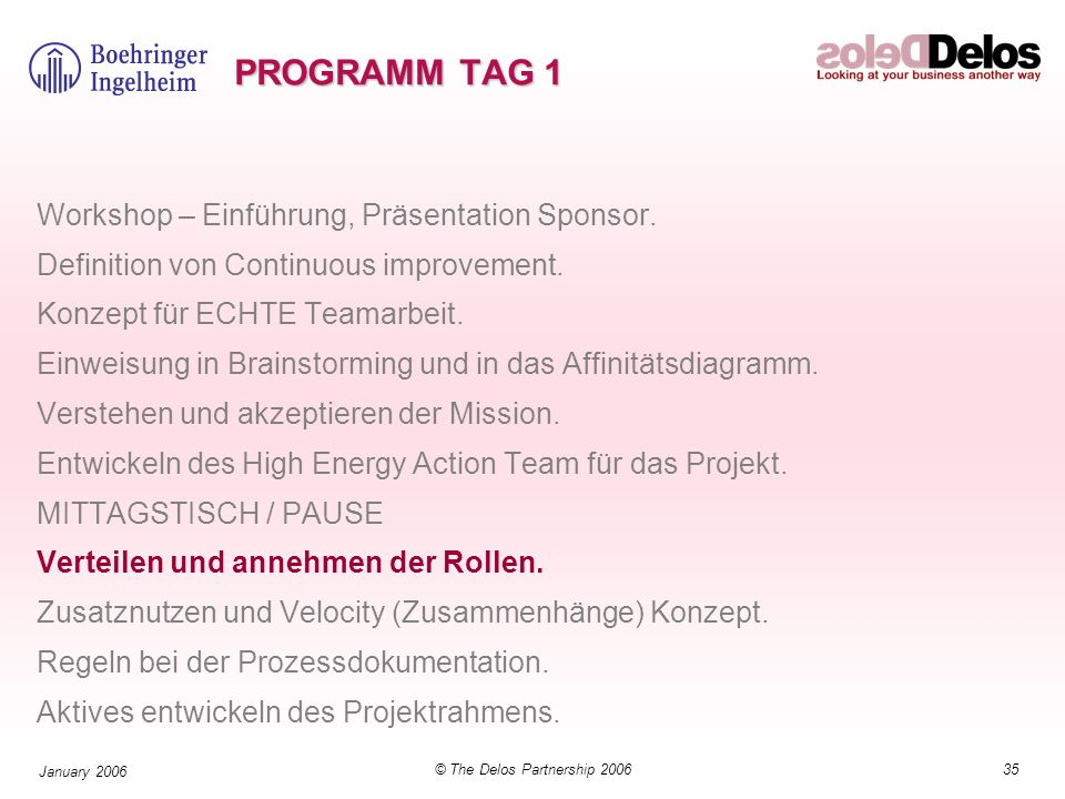35© The Delos Partnership 2006 January 2006 PROGRAMM TAG 1 Workshop – Einführung, Präsentation Sponsor. Definition von Continuous improvement. Konzept