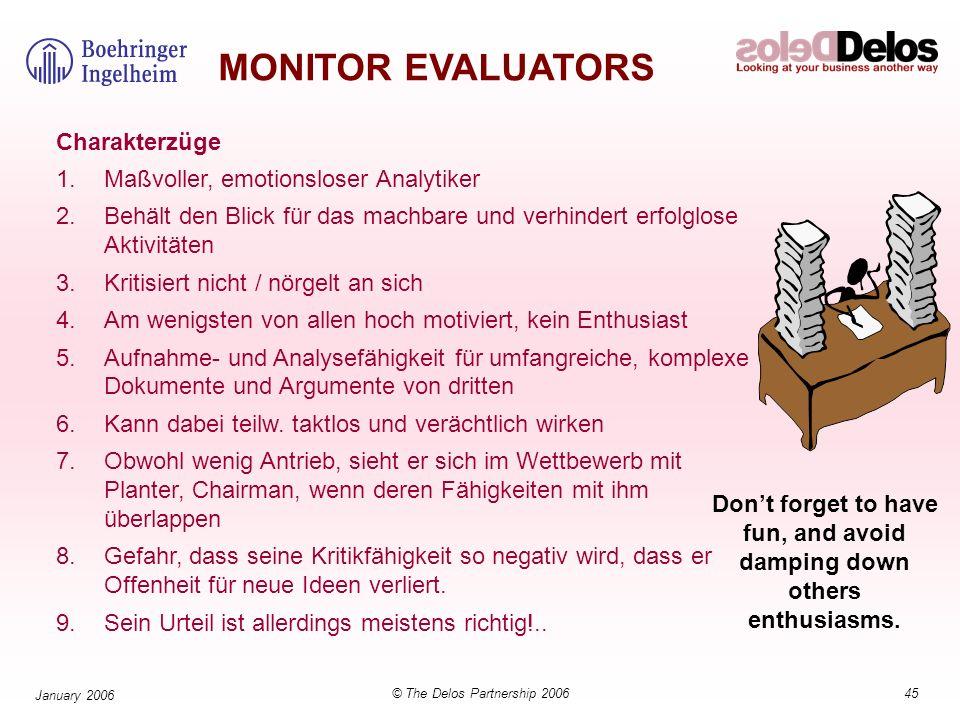 45© The Delos Partnership 2006 January 2006 MONITOR EVALUATORS Charakterzüge 1.Maßvoller, emotionsloser Analytiker 2.Behält den Blick für das machbare