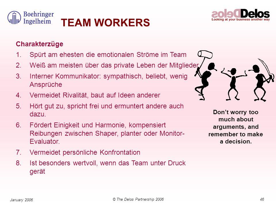 46© The Delos Partnership 2006 January 2006 TEAM WORKERS Charakterzüge 1.Spürt am ehesten die emotionalen Ströme im Team 2.Weiß am meisten über das pr