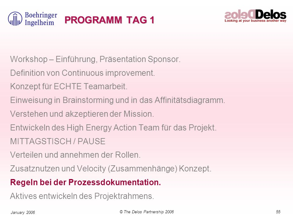 55© The Delos Partnership 2006 January 2006 PROGRAMM TAG 1 Workshop – Einführung, Präsentation Sponsor. Definition von Continuous improvement. Konzept