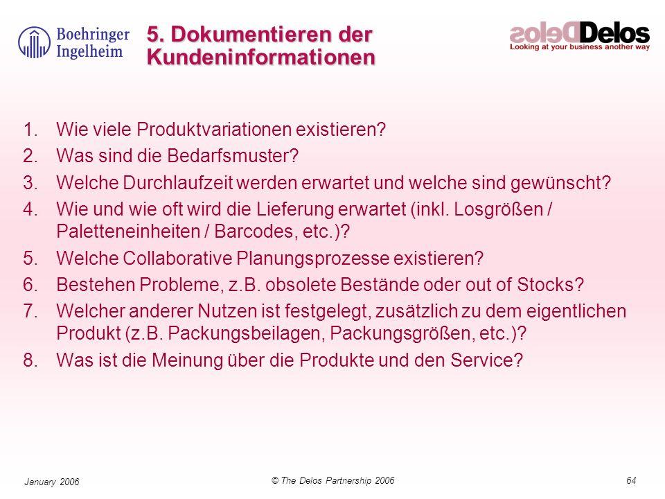 64© The Delos Partnership 2006 January 2006 5. Dokumentieren der Kundeninformationen 1.Wie viele Produktvariationen existieren? 2.Was sind die Bedarfs