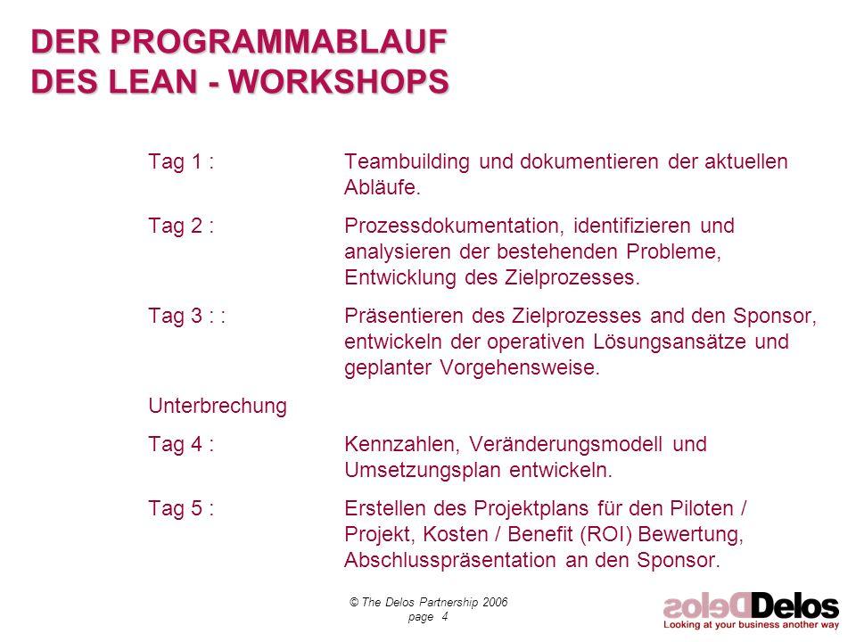 © The Delos Partnership 2006 page 4 DER PROGRAMMABLAUF DES LEAN - WORKSHOPS Tag 1 :Teambuilding und dokumentieren der aktuellen Abläufe. Tag 2 :Prozes