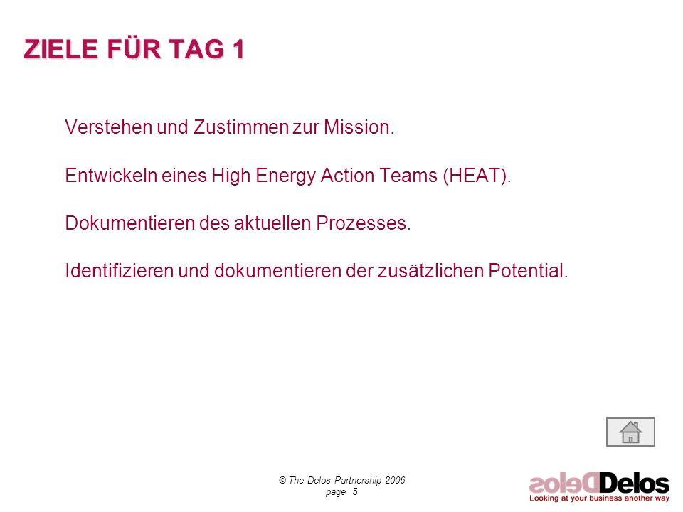 © The Delos Partnership 2006 page 5 ZIELE FÜR TAG 1 Verstehen und Zustimmen zur Mission. Entwickeln eines High Energy Action Teams (HEAT). Dokumentier