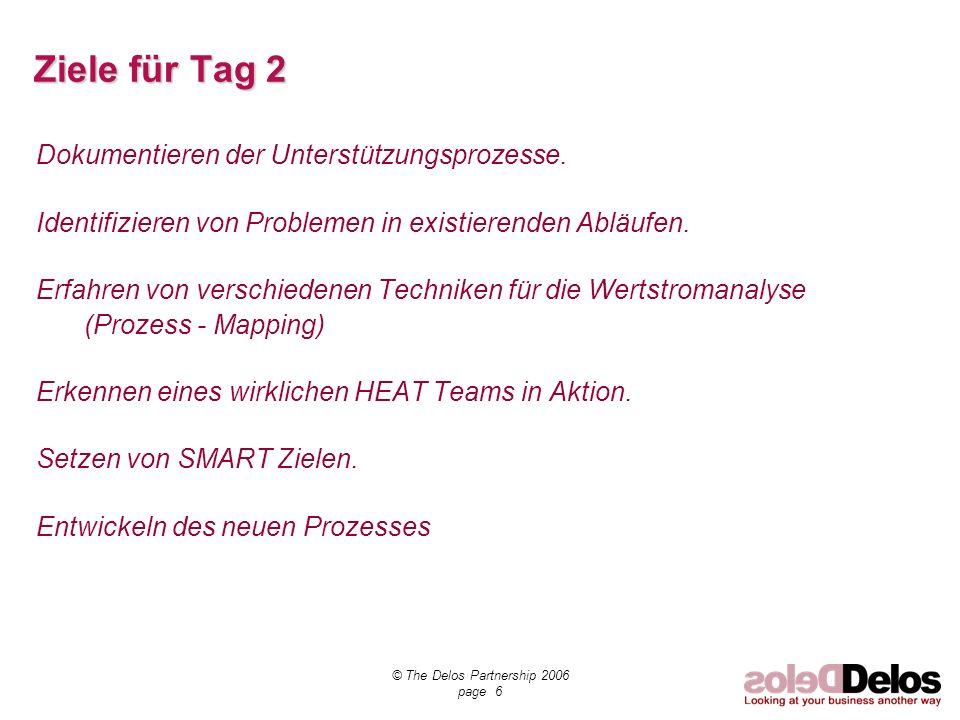 © The Delos Partnership 2006 page 7 ZIELE für TAG 3 Aufbauen des Ziel - Prozesses – High Level -.