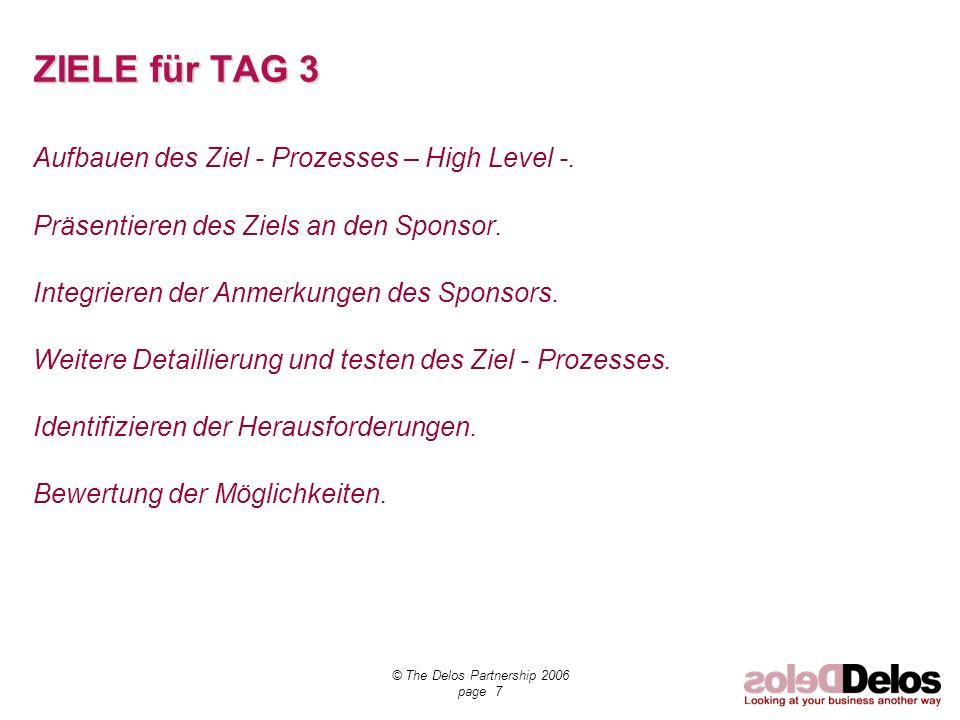© The Delos Partnership 2006 page 7 ZIELE für TAG 3 Aufbauen des Ziel - Prozesses – High Level -. Präsentieren des Ziels an den Sponsor. Integrieren d
