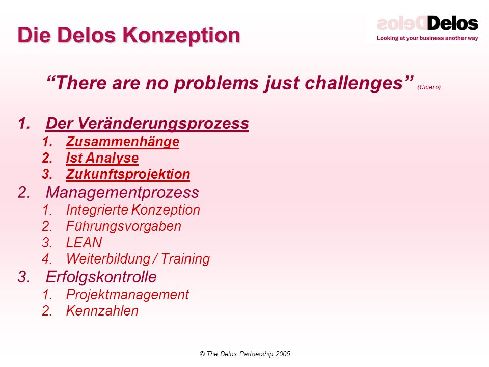 © The Delos Partnership 2005 Delos education catalogue Top Management Overview 1In house Middle Management Overview3In house Integrierter Führungsprozess (IEL)2Public/In house Integriertes Kennzahlen Management 2In house Sales Forecasting & Demand Management2Public/In house Customer Relationship Management2In house Supply Chain Techniken3Public/In house Procurement Master class2Public/In house Supplier Relationship Management2In house Lean & Agile Enterprise2Public/In house Programme Management 2In house Data Accuracy2In house Implementation Master class2In house Change Management Techniken2In house Lean & Agile Techniken2In house Projekt Management Techniken2In house