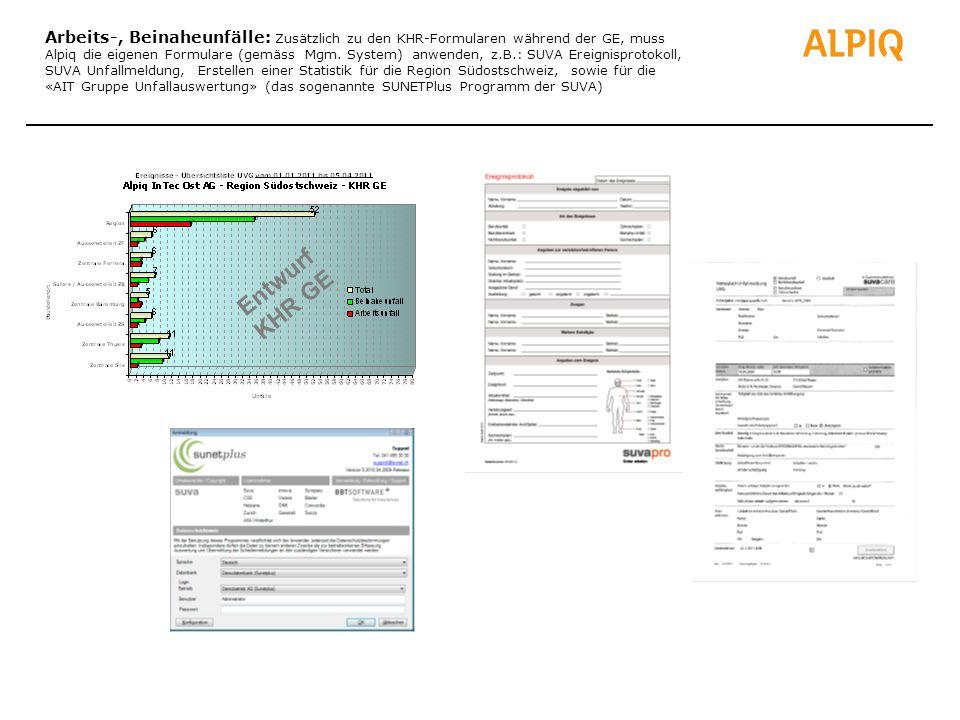 Arbeits-, Beinaheunfälle: Zusätzlich zu den KHR-Formularen während der GE, muss Alpiq die eigenen Formulare (gemäss Mgm. System) anwenden, z.B.: SUVA