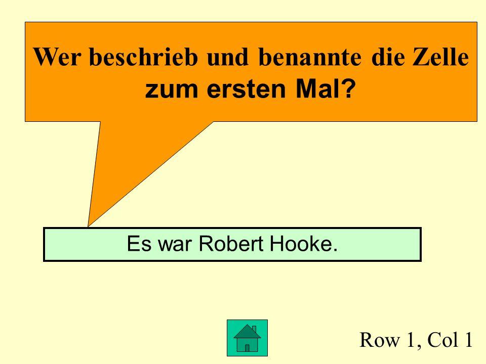 Row 1, Col 1 Wer beschrieb und benannte die Zelle zum ersten Mal? Es war Robert Hooke.